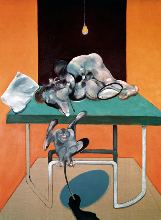 Decorative image: Francis Bacon's oil on canvas painting Two Figures with a Monkey, 1973.