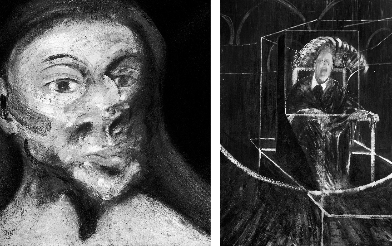 Decorative B&W images: Francis Bacon's Head of Woman, 1961 and Pope III, 1951.