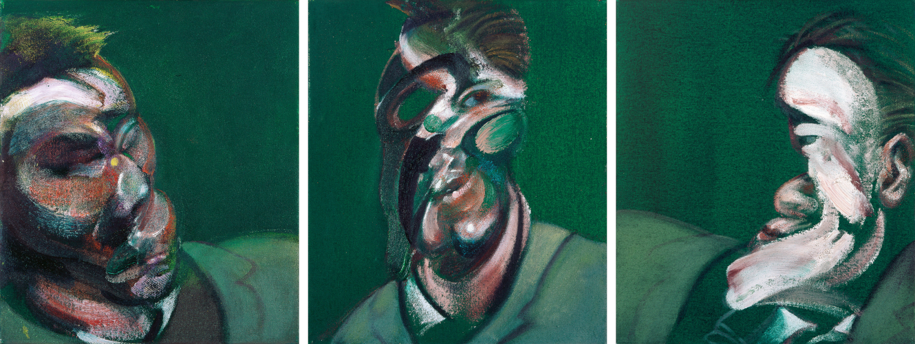 Image: Francis Bacon's oil on canvas painting Three Studies for a Self-Portrait, 1967. Catalogue raisonné number 67-01.