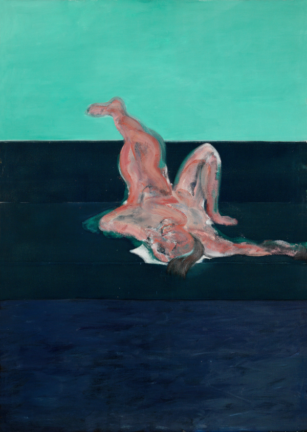 Image: Francis Bacon's oil on canvas painting: Lying Figure, 1959. Catalogue raisonné number: 59-08.