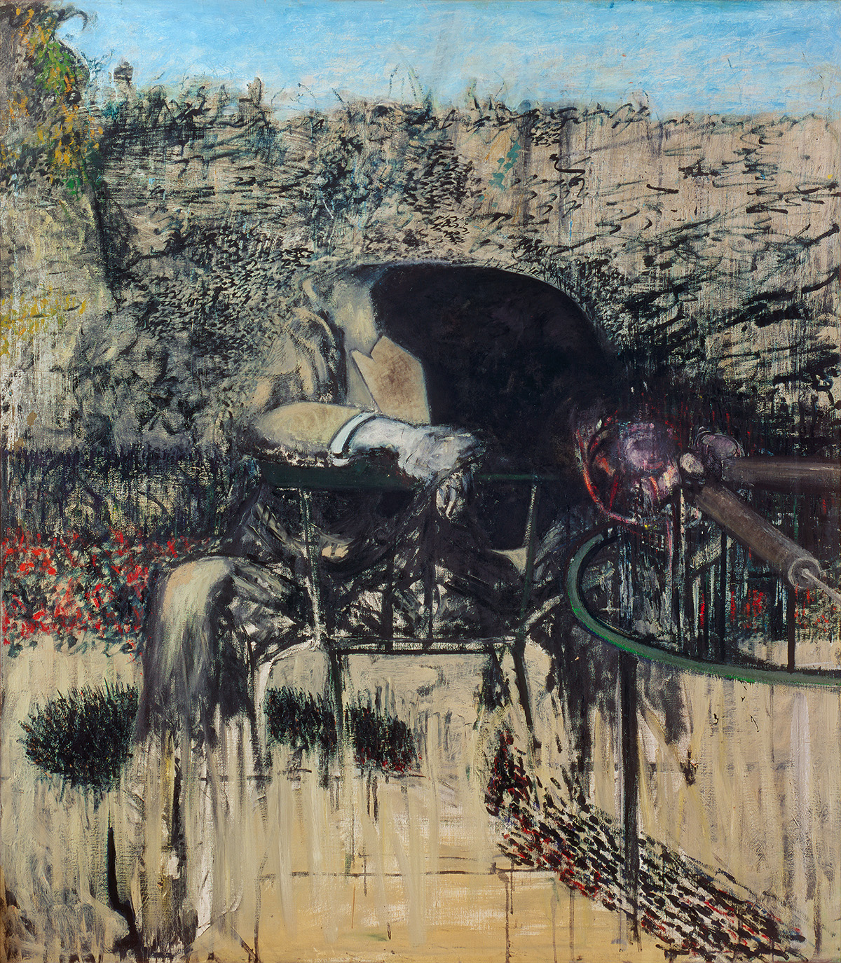 Francis Bacon, Figure in a Landscape. Oil, pastel and dust on canvas. CR number 45-05. © The Estate of Francis Bacon / DACS London 2020. All rights reserved.