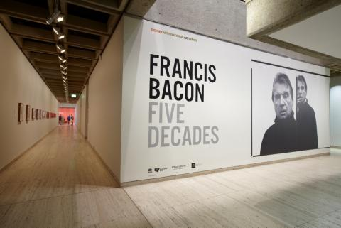 Installation shot from 5 Decades (Art Gallery NSW, 2013) including photograph of Bacon