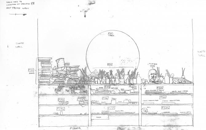 Survey drawing of shelving and mirror in Reece Mews