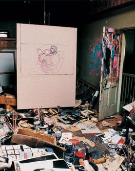 Photograph showing Bacon's last painting inside his Reece Mews studio, by Perry Ogden