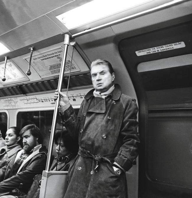 Black and white photograph of Francis Bacon on the Piccadilly Line, by Johnny Stiletto