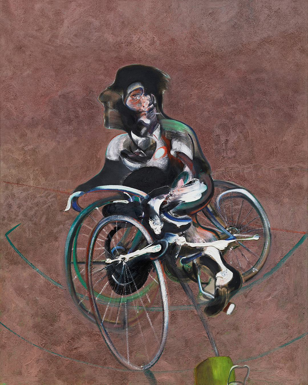 Francis Bacon, Portrait of George Dyer Riding a Bicycle, 1996. Oil and sand on canvas