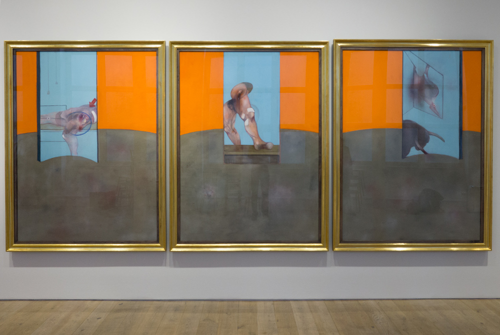 Francis Bacon, Triptych, 1987 (Catalogue raisonné number: 87-05). As exhibited earlier this year in the one-day London show 'Francis Bacon: Six Studies in Soho'. Oil on canvas. © The Estate of Francis Bacon / DACS London 2016. All rights reserved.