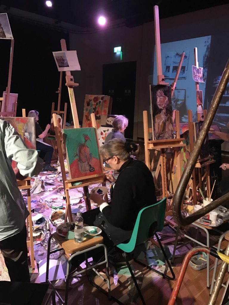 Inspired by Bacon: Experimental Painting workshop at Ferens Art Gallery, Hull. © The Estate of Francis Bacon. All rights reserved. Photo: Dom Heffer.