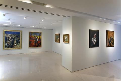 Installation shot from Soutine/Bacon including 56-10 Figure in a Mountain Landscape