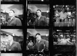 Bacon studio material, John Deakin, contact sheet, Frank Auerbach (on the left) and unknown man, ca. 1964